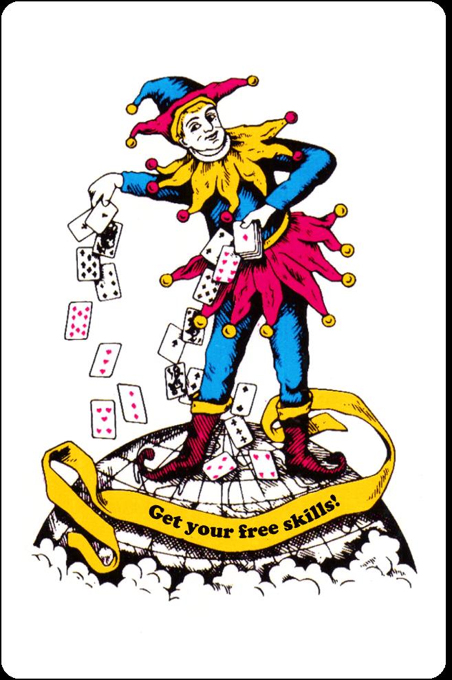 A joker card bearing the legend 'Get your free skills!'