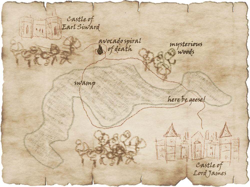 An ancient map has the Castle of Earl Siward at one side and the Castle of Lord James at the other. Between are two paths. One crosses a swamp; the other travels through mysterious woods; both are beset by geese and a curious avocado spiral of death.