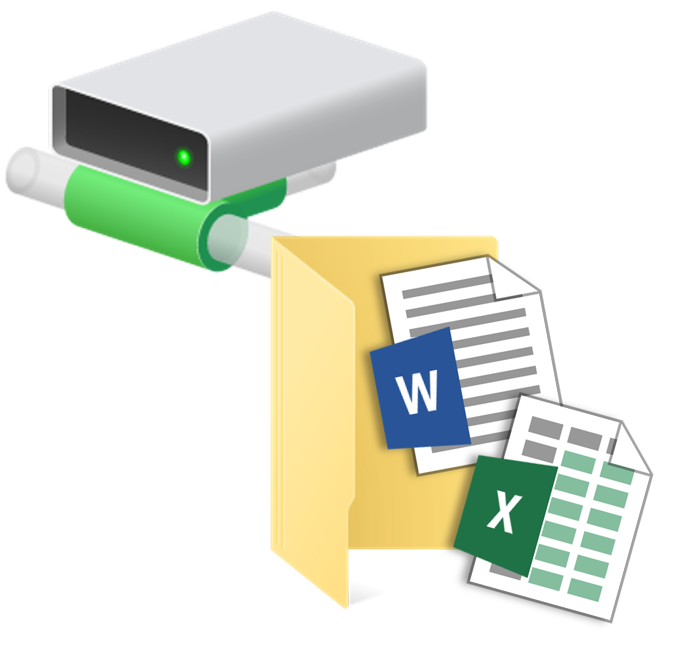 A network drive icon, and a folder containing two Office documents