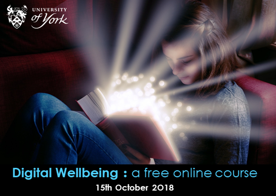 A girl reading a magical book. University of York -- Digital Wellbeing : a free online course -- 15th October 2018