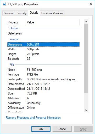Windows properties dialog > Details > Dimensions
