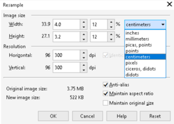 If you're working in pixels, choose that option; if you're working in centimetres, be sure to set 'dpi' to 300