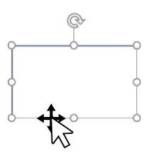 The arrowed crosshair of a 'move' cursor selects a rectangle. The 'expansion' points around the rectangle show that it has been selected