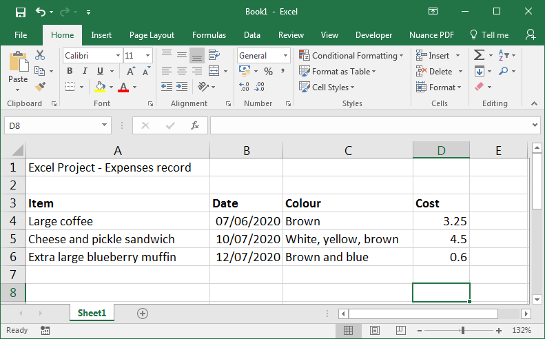 An example spreadsheet with dates in the second column