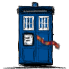A blue Police Box with a striped scarf trapped in the door