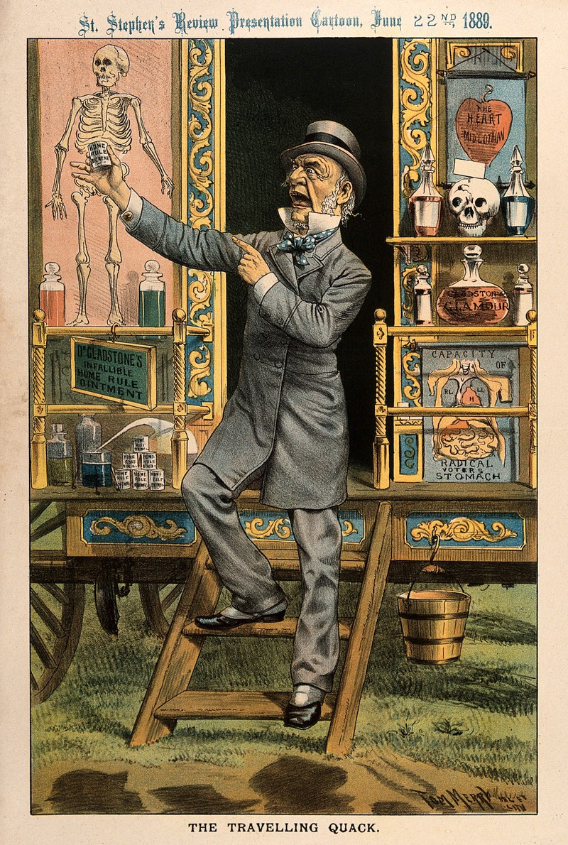Vintage image of a doctor titled: The Travelling Quack.  Link to the Wellcome Collection.