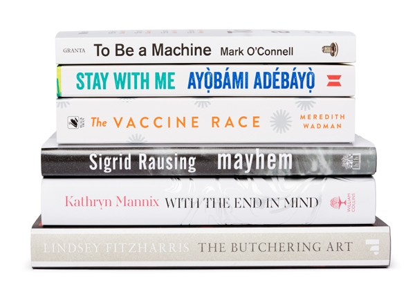 Pile of books.  Link to Wellcome Book Prize.