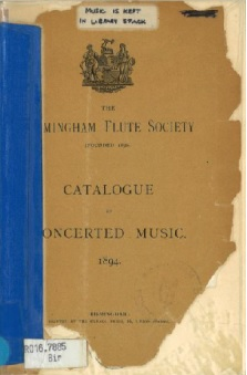 Birmingham Flute Society Catalogue of concerted music 1894