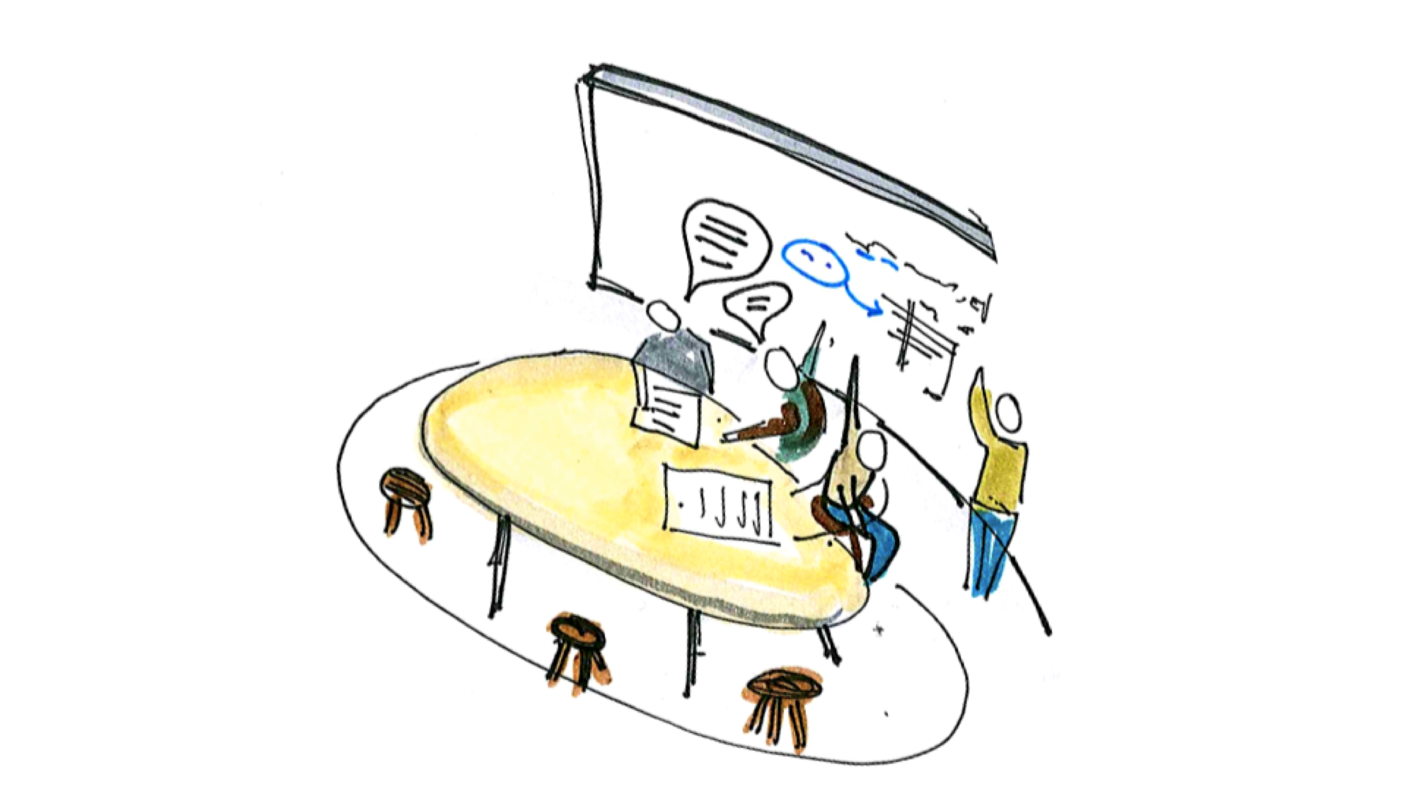 Hand drawn sketch of a small group work space, with four people working together, pointing at problems on a whiteboard and talking to each other