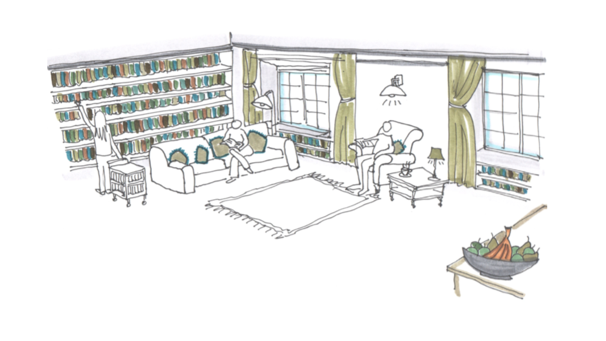 Hand drawn sketch of a small low intensity work space, with sofas, book shelves and rugs, and people reading inside