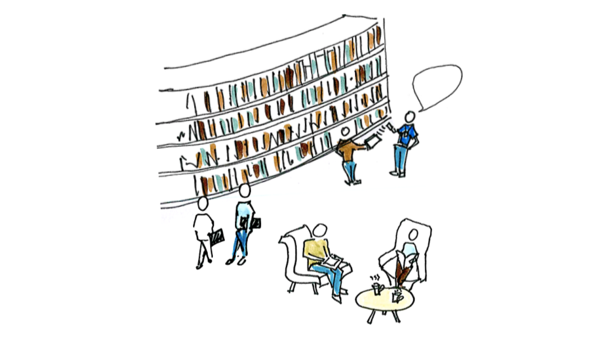 Hand drawn sketch of people talking and working in a library, near book shelves
