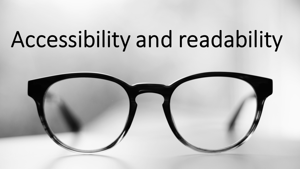 Slide reading Accessibility and readability