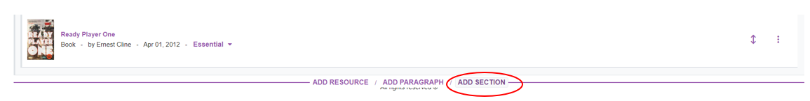 Hover your cursor where you want the section to appear and press add section in the purple bar