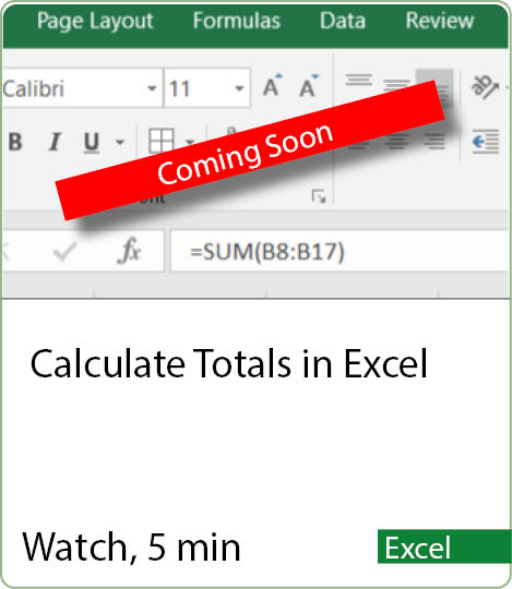 Video coming Soon - Calculate Totals in Excel