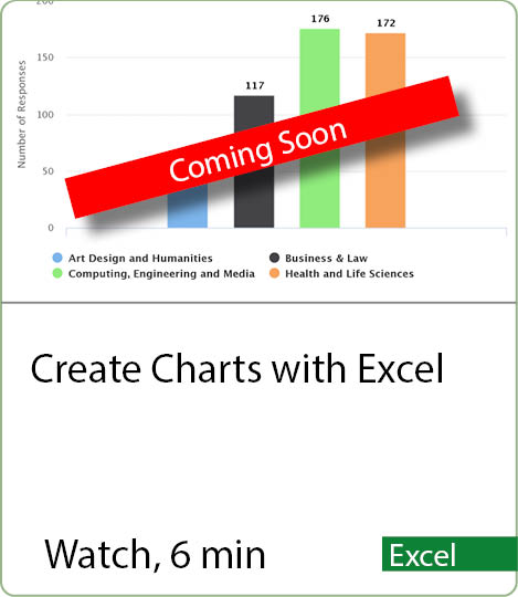 Video coming Soon - Create Charts in Excel