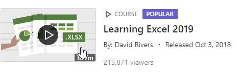 LinkedIn Learning Video - Learning Excel 2019