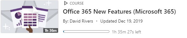 LinkedIn Learning Video - MS365 New Features