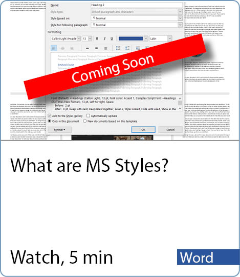 Video coming Soon - What are MS Styles?