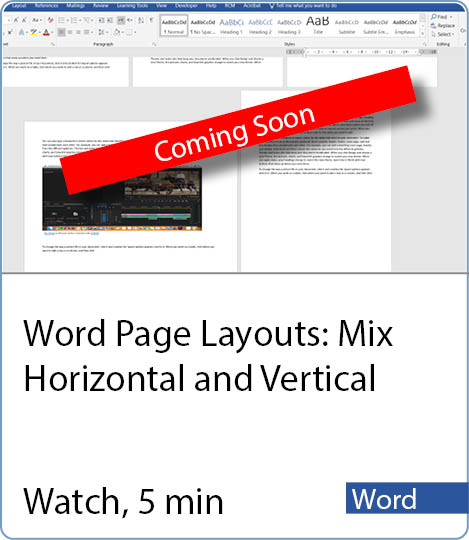 Video coming Soon - Word Page Layouts