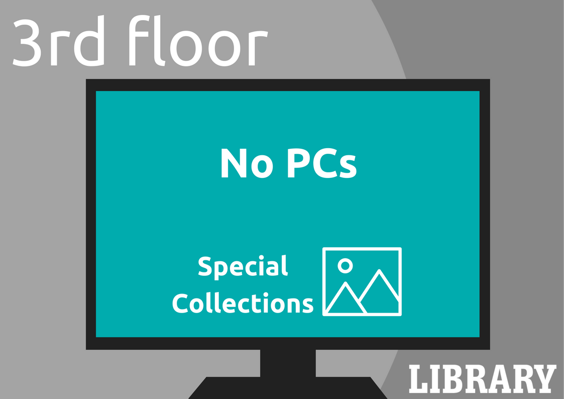 Library 3rd Floor. No PCs. Special Collections.