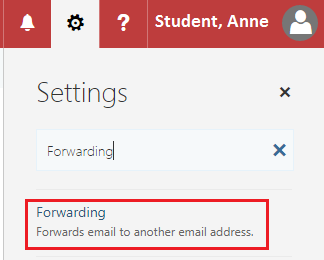 """Outlook browser settings  with """"Forwarding"""" typed in search bar and """"Forwarding """" setting highlighted underneath"""