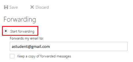 """""""Start forwarding"""" highlighted in red with email address typed beneath"""