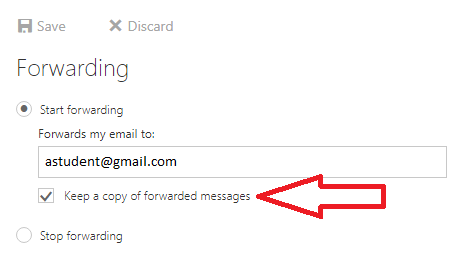 """Forwarding settings with red arrow pointing to """"Keep a copy of messages"""" option"""