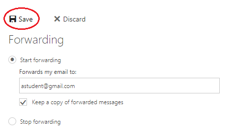 """Forwarding setting with """"Save"""" icon highlighted in red"""