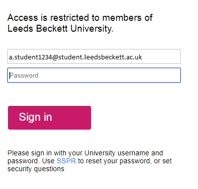 Leeds Beckett login screen