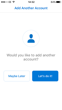 Outlook app add another account
