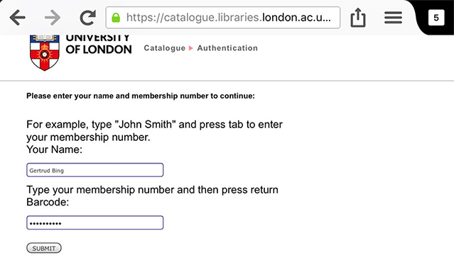 Screenshot of authentication screen on the University of London Library catalogue