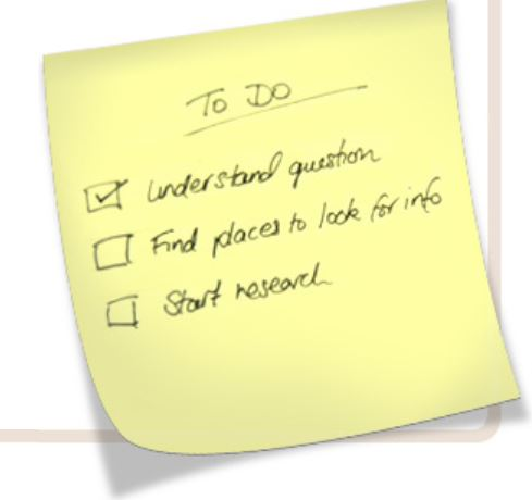 post-it note with checklist for an assignment