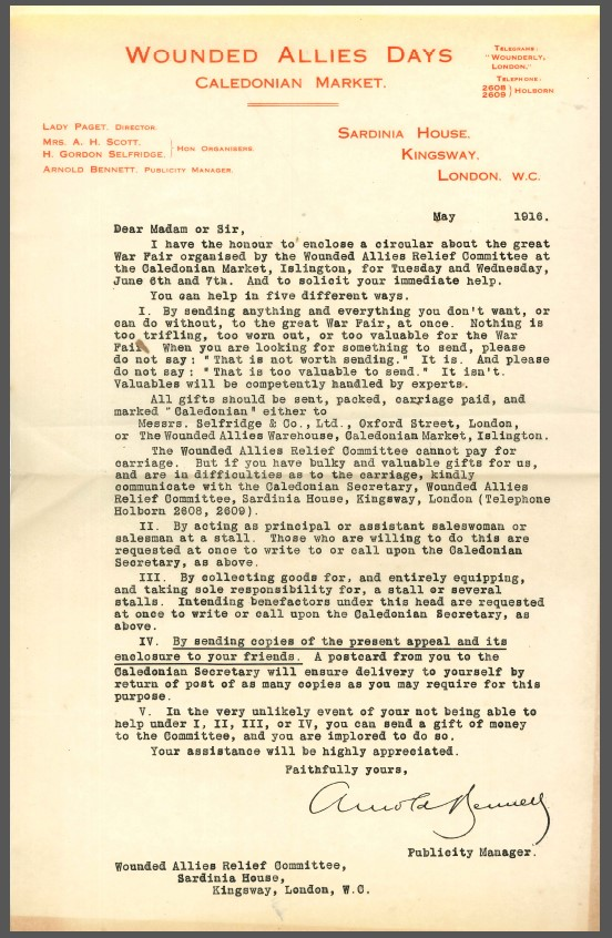 Wounded Allies' Relief Committee Circular letter