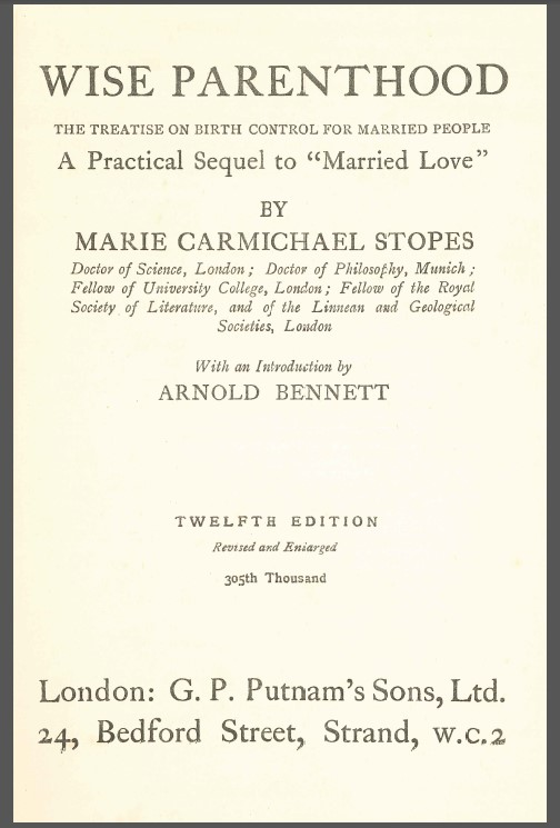 Introductory Note to Marie Carmichael Stopes Wise Parenthood