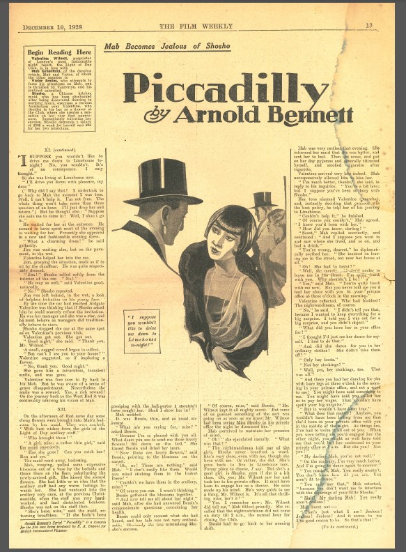 Serial extract of Piccadilly in The Film Weekly