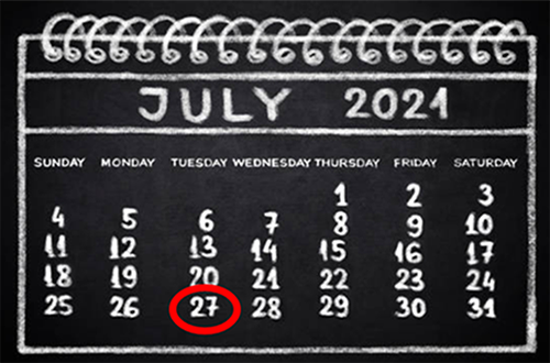 calendar with July 27 2021 highlighted
