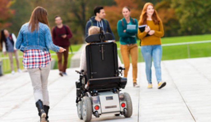 student in wheelchair with group of other students