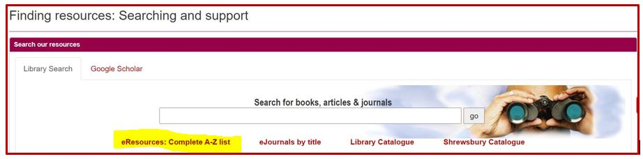 screenshot of the library resources search box with  a-z link highlighted
