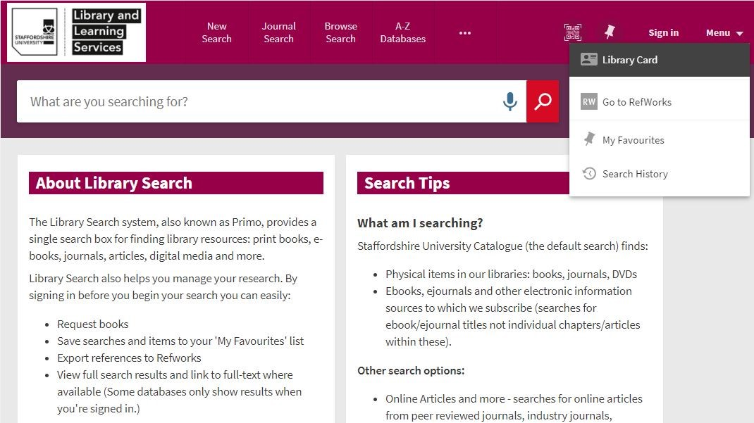 Screenshot of Library Search page