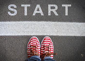 feet on a start line
