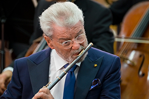 Flautist James Galway in concert