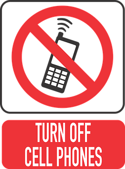 'Turn off cell phones' sign