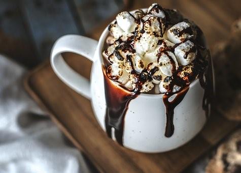 Big mug of hot chocolate with marshmallows
