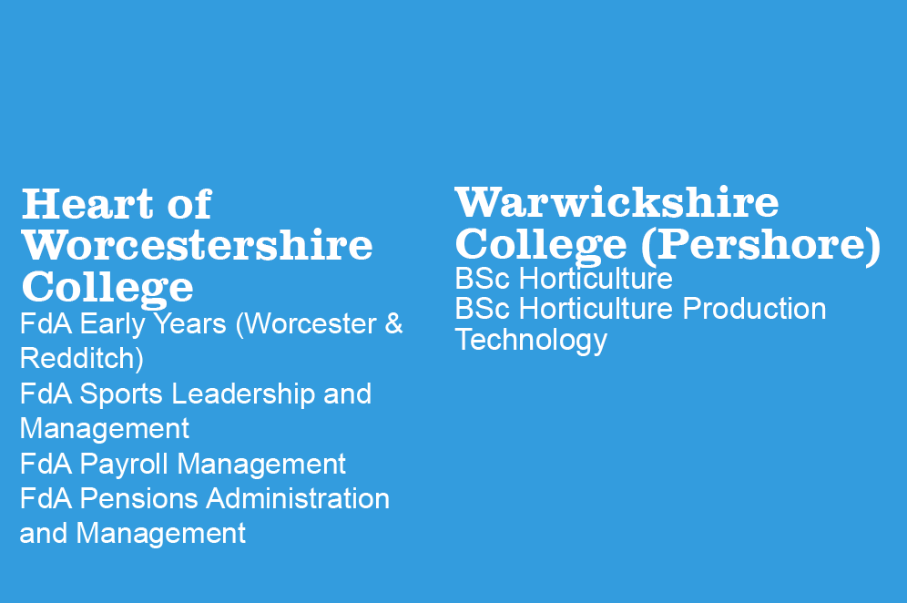 Courses registered with partners include at the Heart of Worcestershire College, FdA Early Years, FdA Pensions Administration and Management, FdA Sports Leadership and Management; and at Warwickshire College, BSc (Hons) Horticulture
