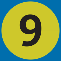 Number 9 in a yellow circle