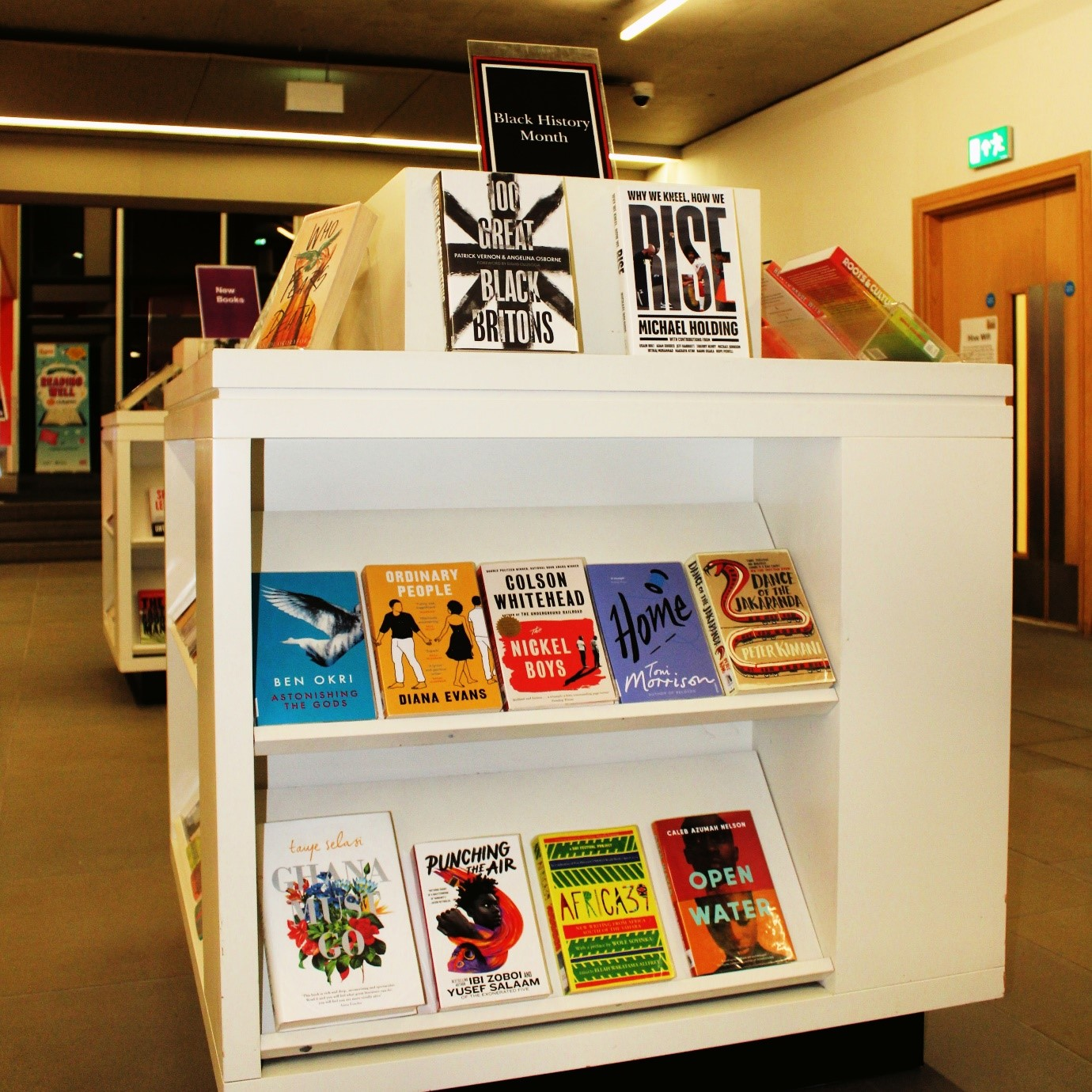 Blak History Month book display in The Hive