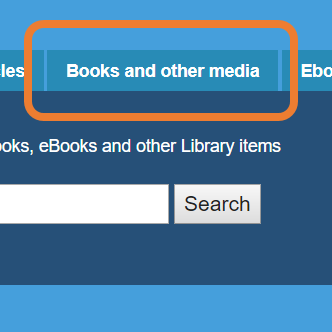 Books and other media tab on Library Search