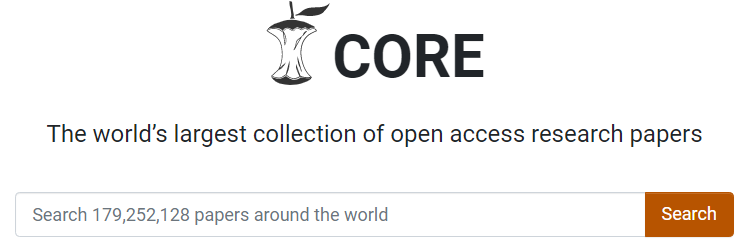 Core: the world's largest collection of open access research papers, with search box