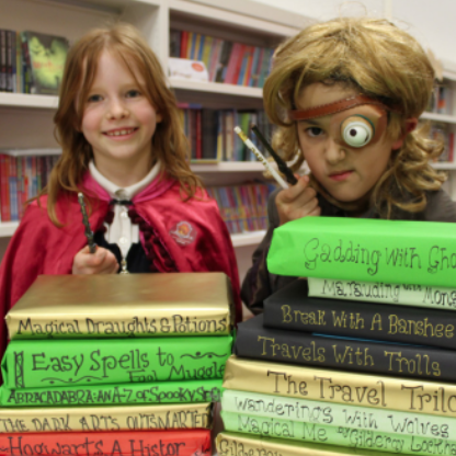 Children dressed as Hogwarts students and Mad-Eye Moody
