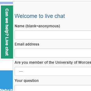 LiveChat box with space to enter name, email and question